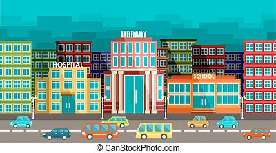 City and road in the style of flat design. Vector...
