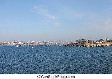 City and sea coastal landscape