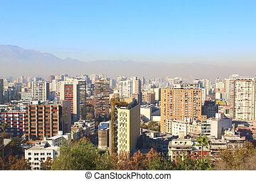 city and The Andes mountain in the background, Chile