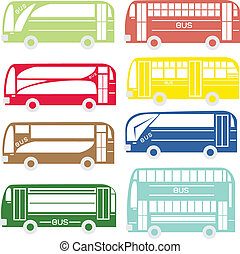 City and tourist buses, Vector illustration