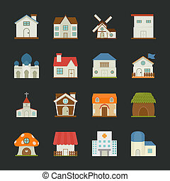 City and town buildings icons , flat design