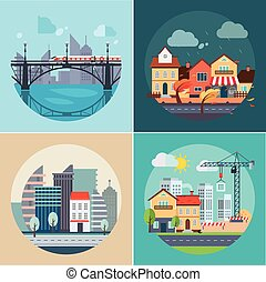 City and Town Landscapes, Buildings - City and town...