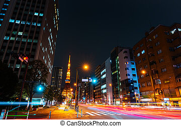 city and traffic in Tokyo, Japan