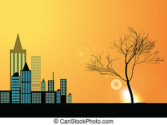 city and tree