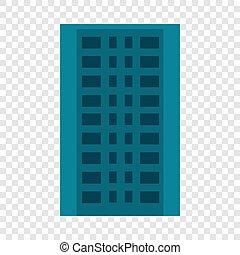 City apartment building icon, flat style
