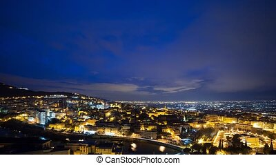 City at dawn Tivoli, Italy. Time Lapse