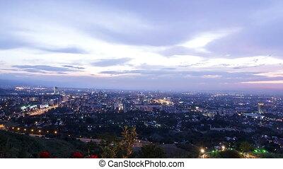 City at dusk. Almaty, Kazakhstan. Time Lapse
