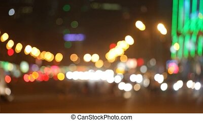 City at night background with cars.