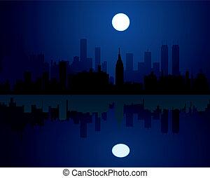 city at night  - vector city at night background