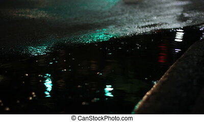 city at night puddle abstract