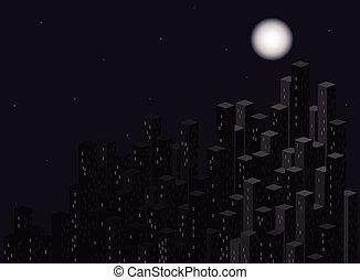 City at night. Vector