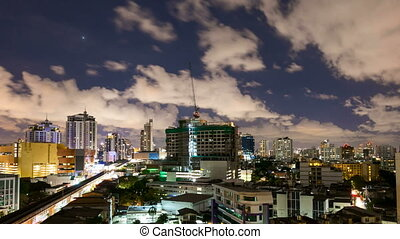 City at night with cloudscape - Bangkok city at night with...