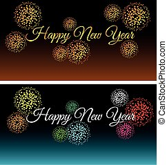 City at night with fireworks background vector set