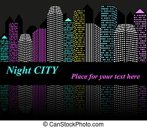 City at night with lights, vector