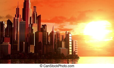 City at sunrise, 3d animation