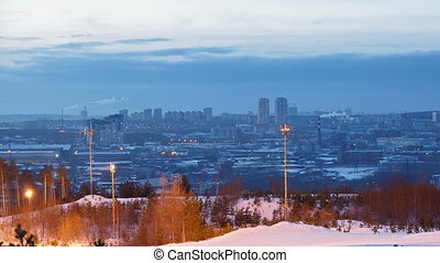 City at sunset. Ekaterinburg. Time Lapse