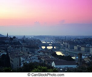 City at sunset, Florence, Italy.
