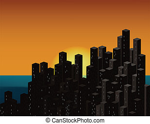 City at sunset. Vector