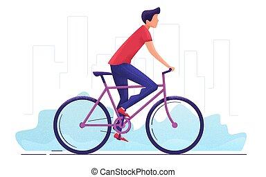 city., autour de, jeune, illustration, vecteur, cyclisme, homme