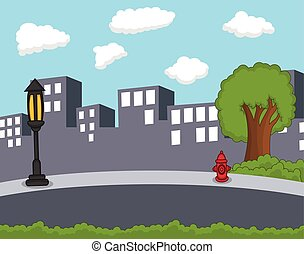 City background cartoon