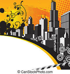 City background - Vector background with a city