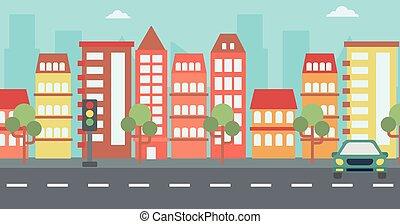 city., bakgrund, nymodig