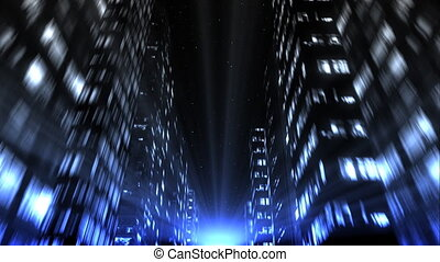 Night city buildings jumping the beat of music, loopable.
