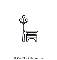 City bench linear icon concept. City bench line vector sign, symbol, illustration.