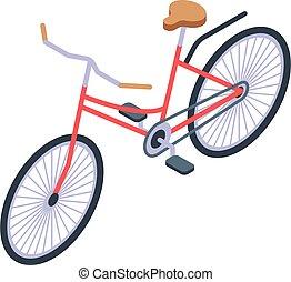 City bicycle icon, isometric style