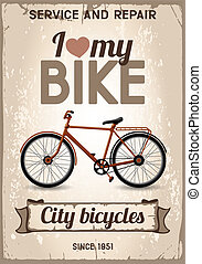 City bicycle - Vintage poster with city bicycle on the old...