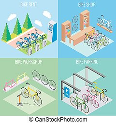 City bike concept vector in isometric style. Illustration in flat 3d design. Bicycle parking, repair shop and bike for rent