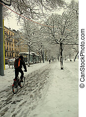 City biker in the snow