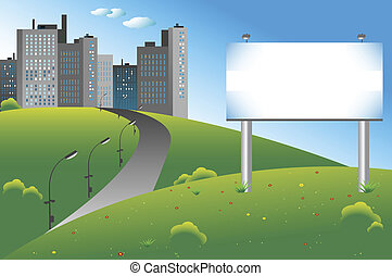 Blank billboard on a green field, city on the background