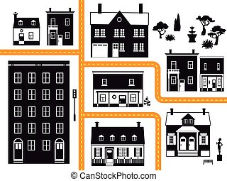 City block - City neighborhood with different types of real ...