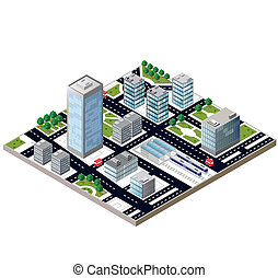 City block - View of a city block to the railway station and...