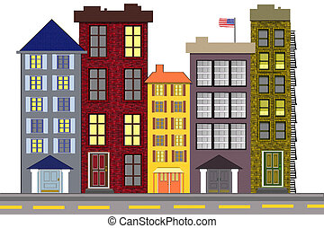 City Block Illustration - An illustration of a typical old ...