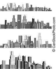 City blocks - Set of generic city skylines