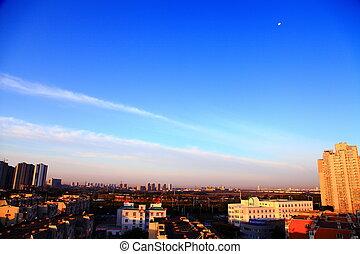 City blue sky morning