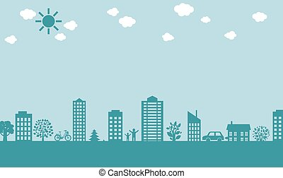 City Border Isolated Green Background
