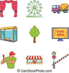 City break icons set, cartoon style