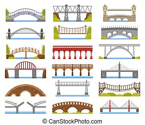 City bridge. Urban crossover bridge construction, truss and tied arch river bridge, carriageway architecture vector illustration icons set. Arch construction urban, railway construct bridge