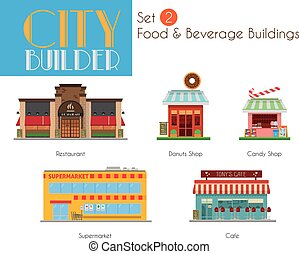City Builder Set 2: Food and Beverage Buildings