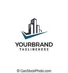 city building check mark logo design concept template vector