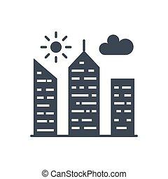 City Building Glyph Vector Icon