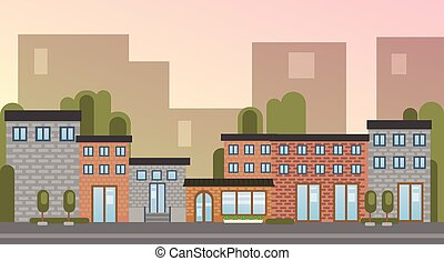 City Building Houses Town View Silhouette Skyline Background