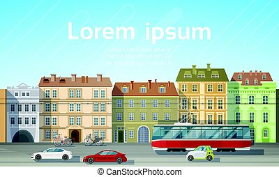 City Building Houses View With Car Road Tram Transport...