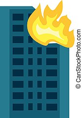City building in fire icon, flat style