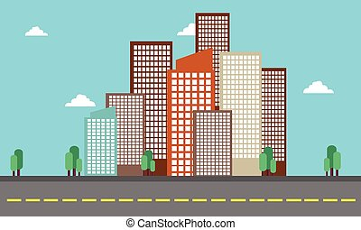 City building landscape skyline of vector