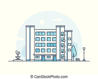 City building - modern thin line design style vector...