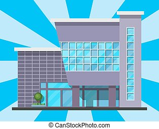 City building modern tower office architecture house business apartment home facade vector illustration